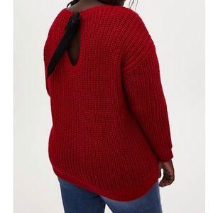 🆕 Red Fisherman Tie Back Sweater 3X 22 NWT Torrid